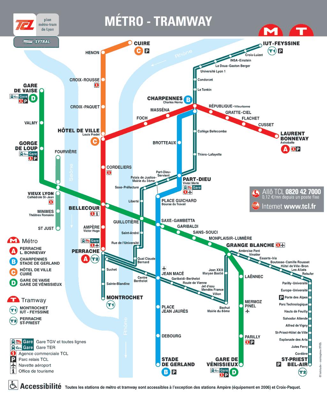 Lyon : plan métro - Tramway